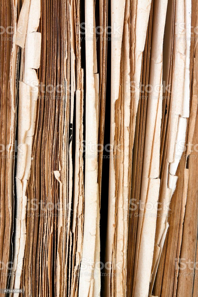 Front view of old book damaged pages royalty-free stock photo