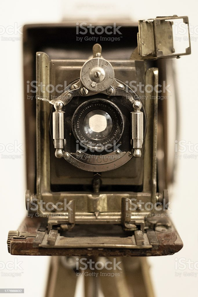 front view of old wooden camera stock photo