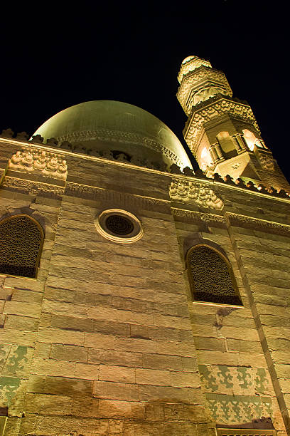 Front View of Qalawun Mosque in Old Cairo at Night stock photo