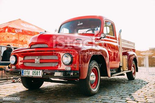 Prague, Czech Republic - September 23, 2017: Front View Of Red International Harvester R-series Truck Parked In Street.