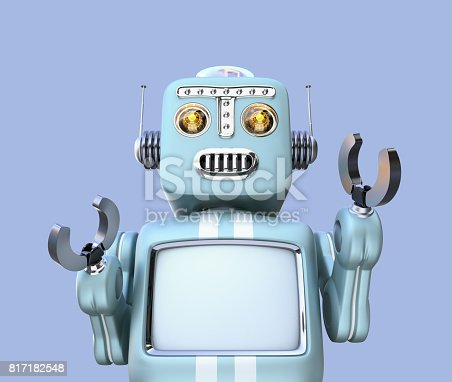 678279896 istock photo Front view of retro robot isolated on blue background 817182548