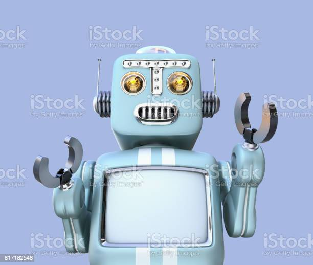 Front view of retro robot isolated on blue background picture id817182548?b=1&k=6&m=817182548&s=612x612&h=gfmbjgy0yt9n nbf9oapryvjasdsd9c1il2 mkkhq5s=