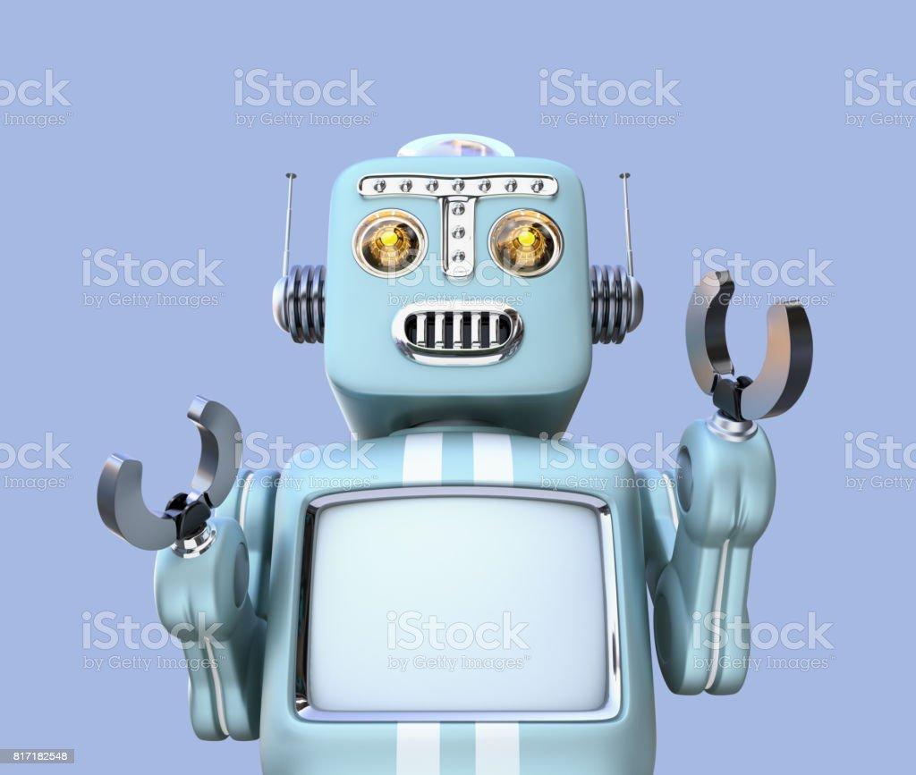Vorderansicht des Retro-Roboter auf blauem Hintergrund isoliert – Foto