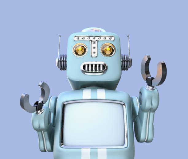 vue frontale du robot rétro isolé sur fond bleu - chatbot photos et images de collection
