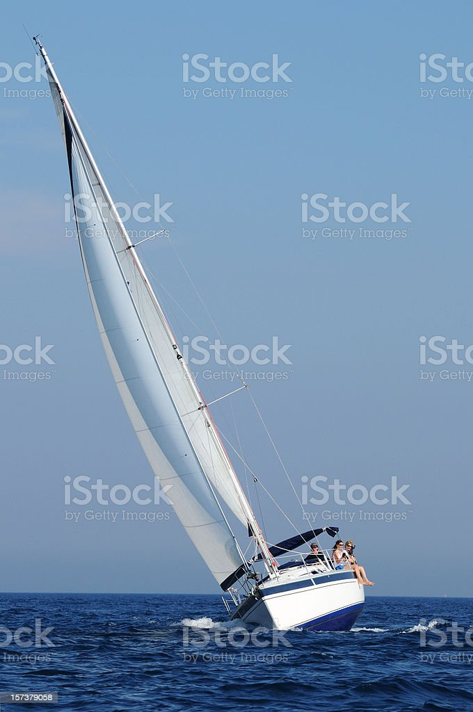 Front view of sailing boat royalty-free stock photo