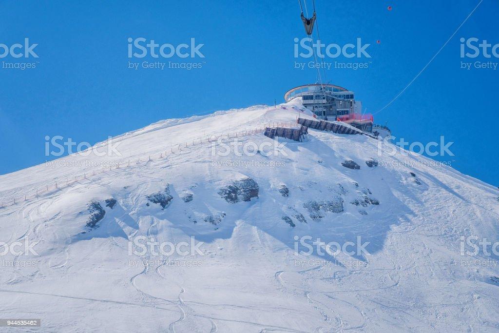 Front view of Schilthorn Piz Gloria from Murren,Switzerland stock photo