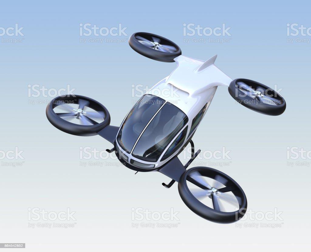 Vista frontal de la uno mismo-conducción abejón de pasajeros volando en el cielo - Foto de stock de Aerodeslizador libre de derechos