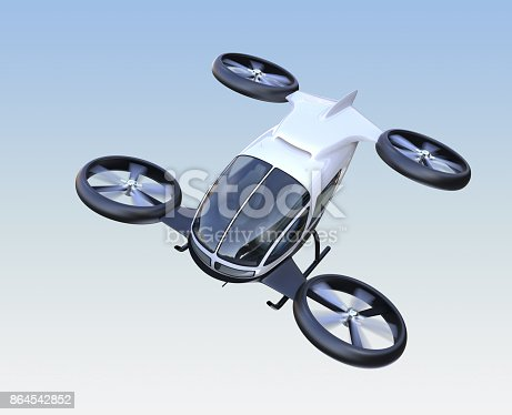 istock Front view of self-driving passenger drone flying in the sky 864542852