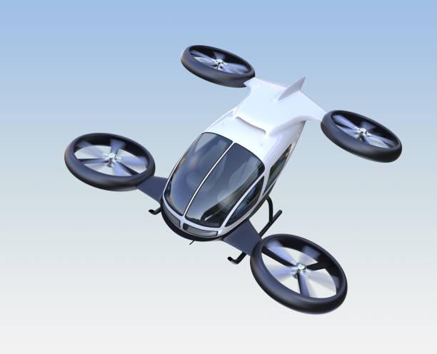 vorderansicht des selbstfahrenden passagier-drohne fliegen in den himmel - flugdrohne stock-fotos und bilder