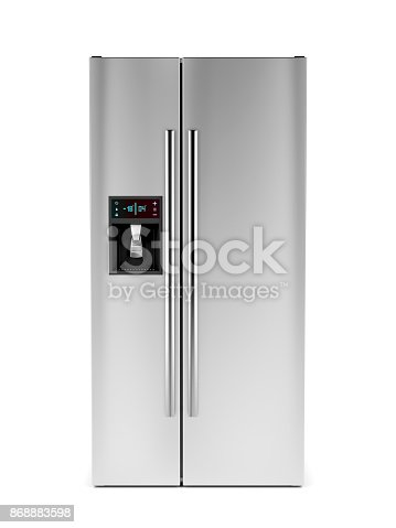 istock Front view of side-by-side refrigerator 868883598