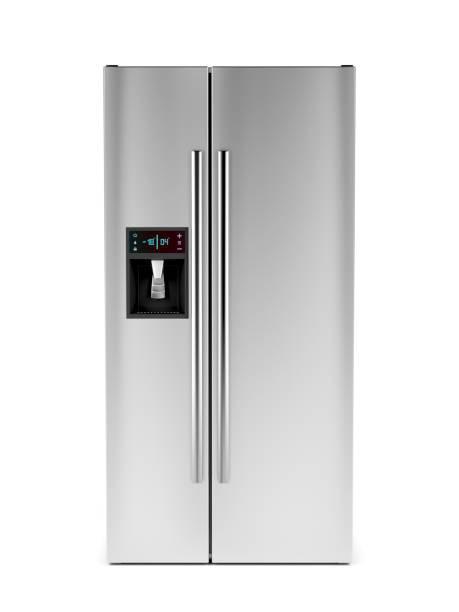 Front view of side-by-side refrigerator Side-by-side refrigerator with ice and water dispenser on white background fridge stock pictures, royalty-free photos & images