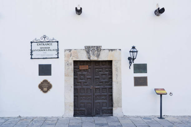 Front View of Spanish Governors Palace Close Up stock photo