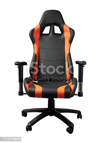 Front view of sport design gaming orange and black chair