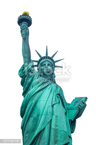 istock Front view of Statue of Liberty in Liberty Island, New York, USA 1277107731