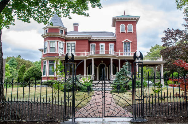 Front view of Stephen King's house in Bangor Maine during summer day