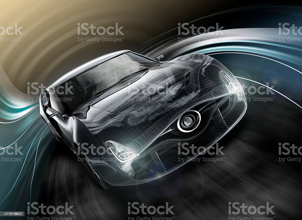 Front view of stylish black sports car with wire frame stock photo