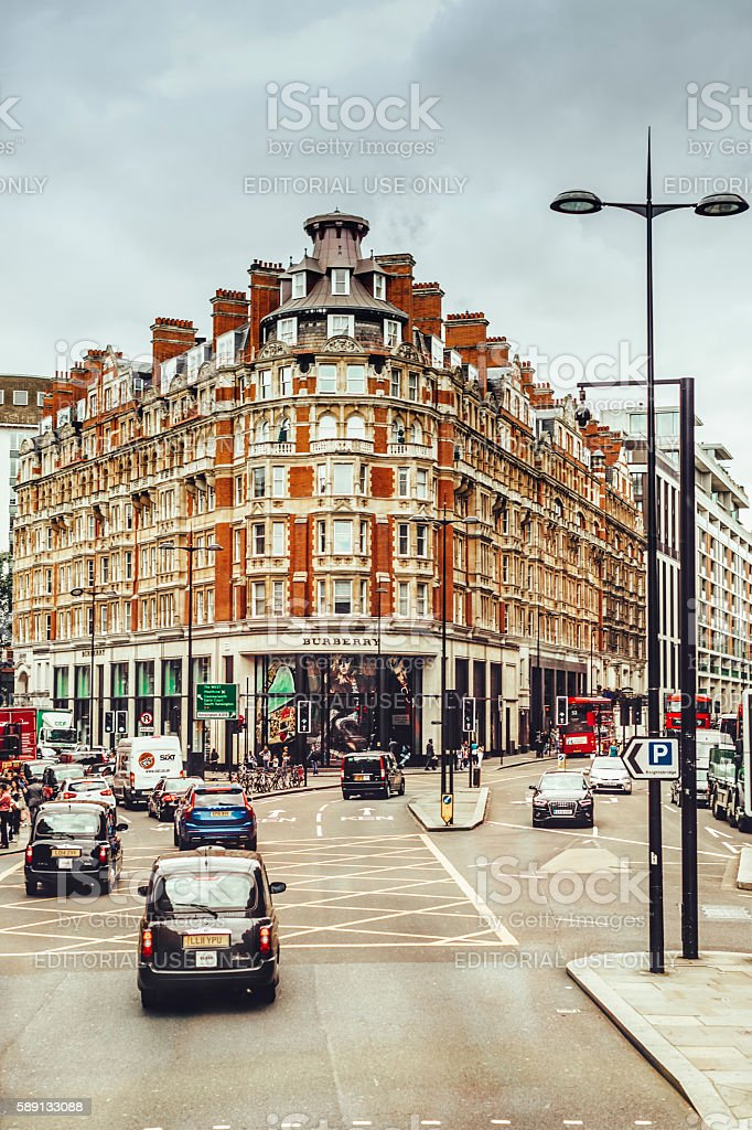 Front view of the Burberry luxury fashion house stock photo