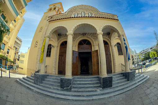Rethymno, Crete island: Front view of the Church of Saint Georgios, Eastern Orthodox Church.
