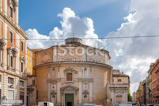 Front view of the Church Rectory San Bernardo alle Terme at Rome city, Italy.