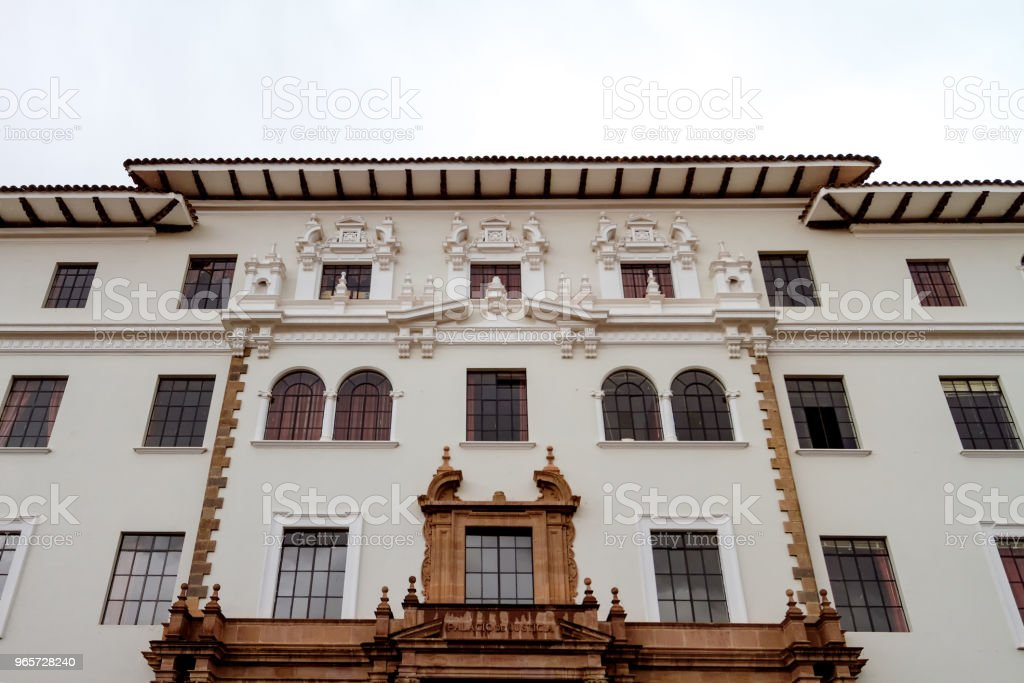 Front view of the facade of the Palace of Justice of Cusco (Peru) - Royalty-free Architecture Stock Photo