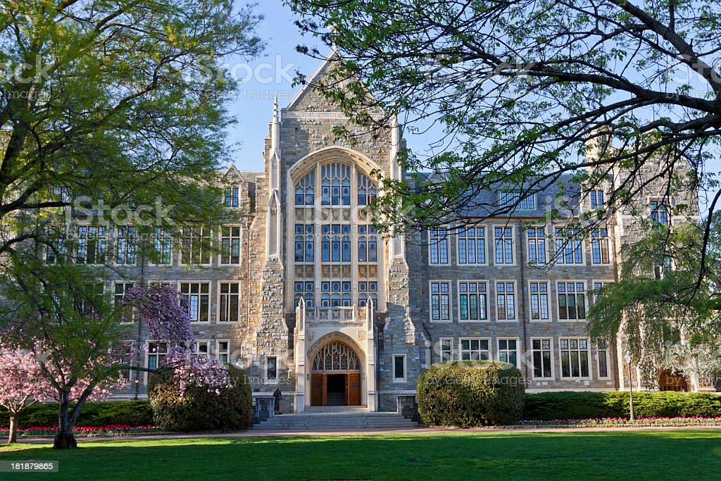 Front view of the Georgetown University in Washington stock photo