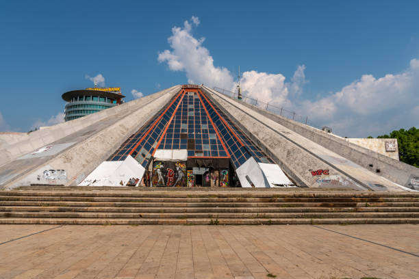 Front view of the Pyramid building of Tirana in Albania. stock photo