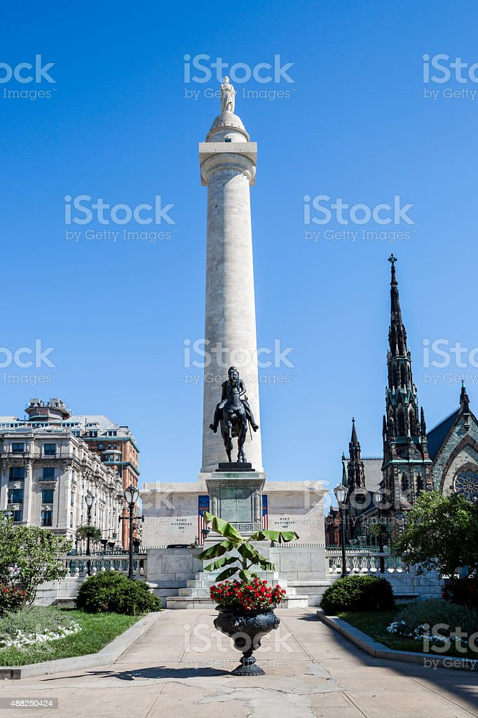 Front View of the Washington Monument in Baltimore Maryland stock photo