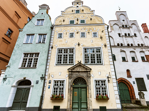 front view of Three Brothers houses in Riga city