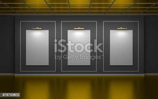 508881302 istock photo Front view of three large vertical posters on wall in a gallery. Golden edition. 3d illustration 676703820