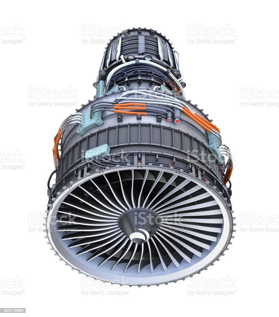 Front view of turbofan jet engine isolated on white background stock photo