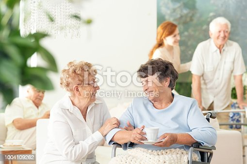 istock Front view of two happy geriatric women talking and holding hands in a private luxury day care center. Other seniors in the blurred background. 1004109262