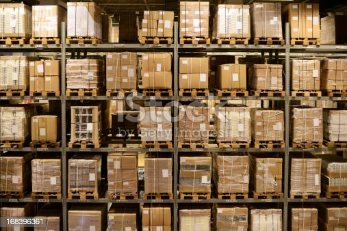 544976664 istock photo Front View of Warehouse and Cargo Shelf - XXXXXLarge 168396361