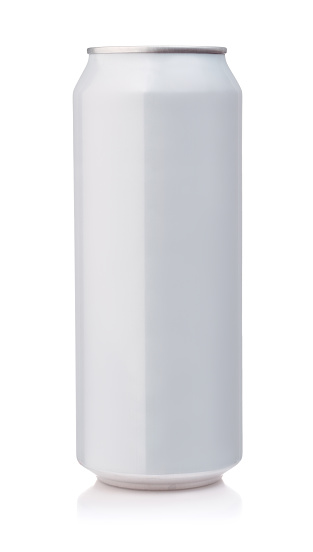 Front view of white aluminum can isolated on white