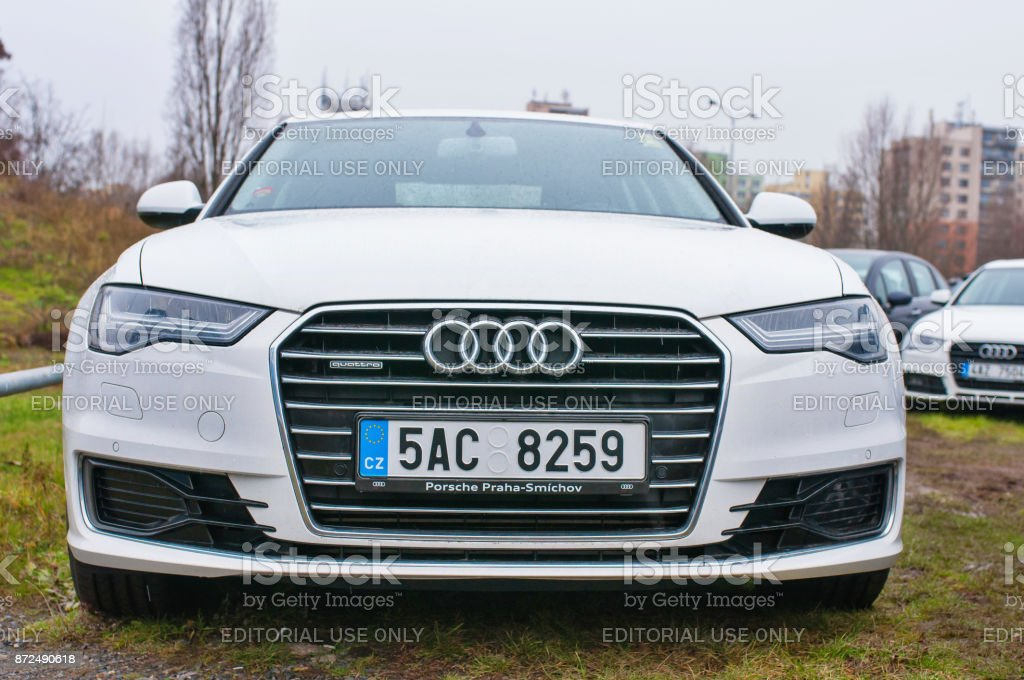 Front view of white car Audi stock photo
