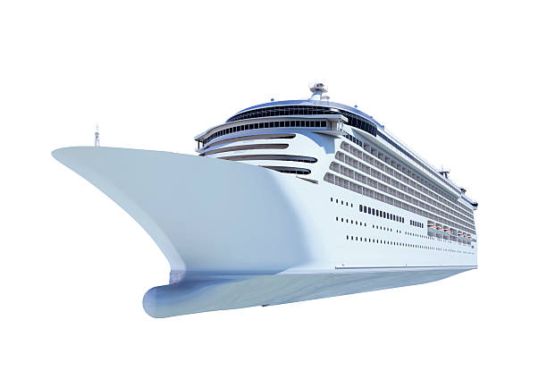 front view of white cruise ship against blank background - yolcu teknesi stok fotoğraflar ve resimler