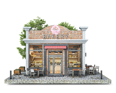 Front view on a bakery shop building on a piece of ground, 3d illustration