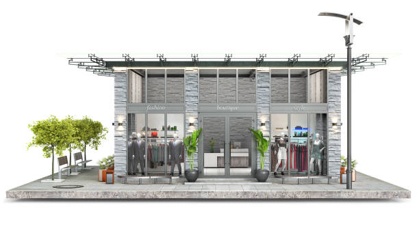 Front view on a modern boutique on a piece of ground, 3d illustration stock photo