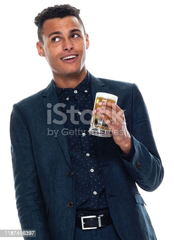 istock Front view / one man only / one person / waist up / portrait of 20-29 years old adult handsome people black hair / short hair african ethnicity / african-american ethnicity male / young men businessman / business person wearing a suit / pale ale 1187416397
