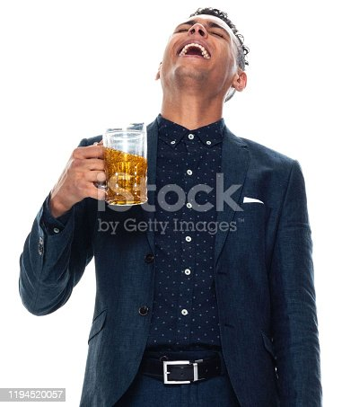 istock Front view / one man only / one person / waist up / portrait of 20-29 years old adult handsome people black hair / short hair african ethnicity / african-american ethnicity male / young men businessman / business person wearing a suit / pale ale 1194520057