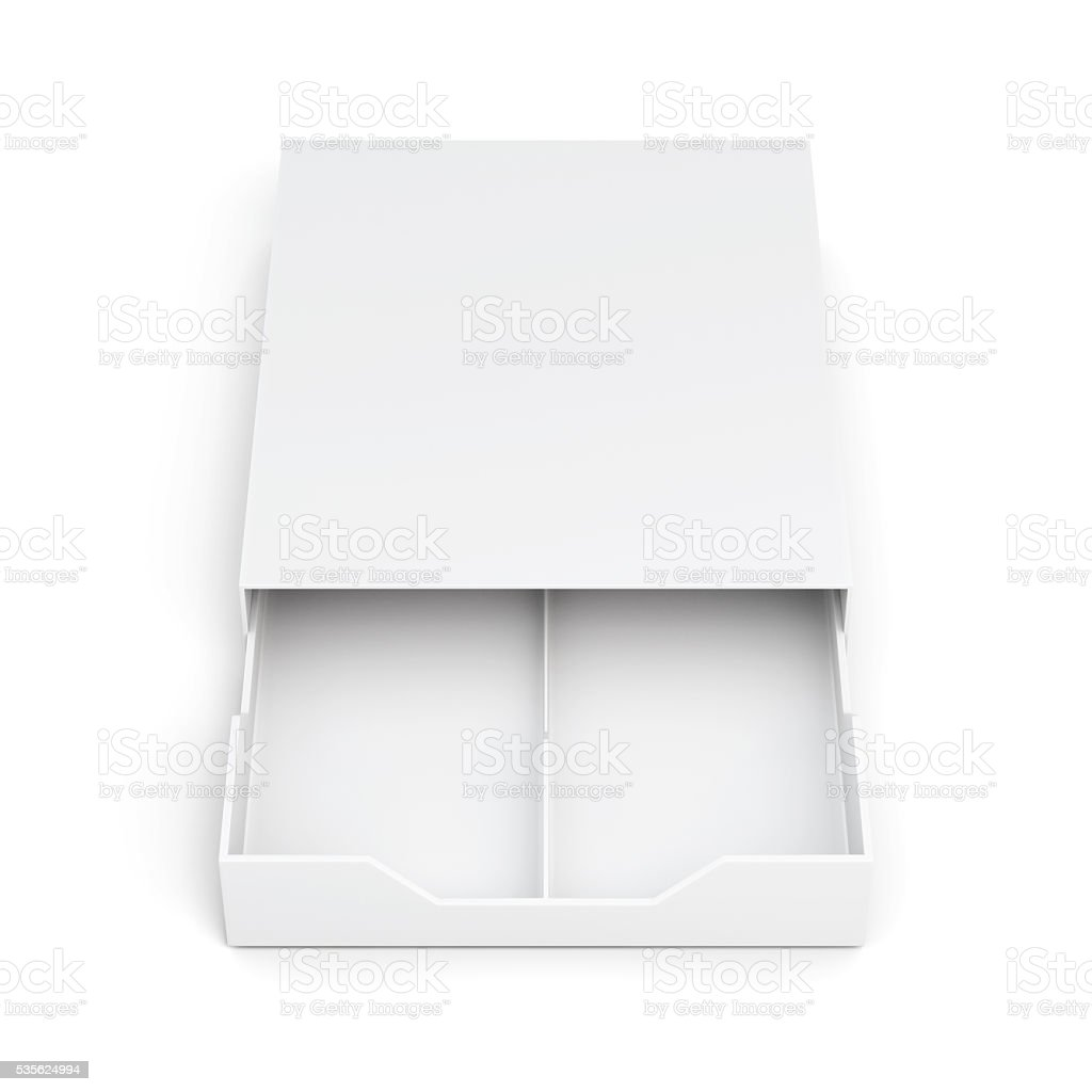 Front view open drawer box isolated on white background. stock photo