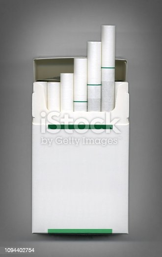 Front view pack of blank label cigarette.