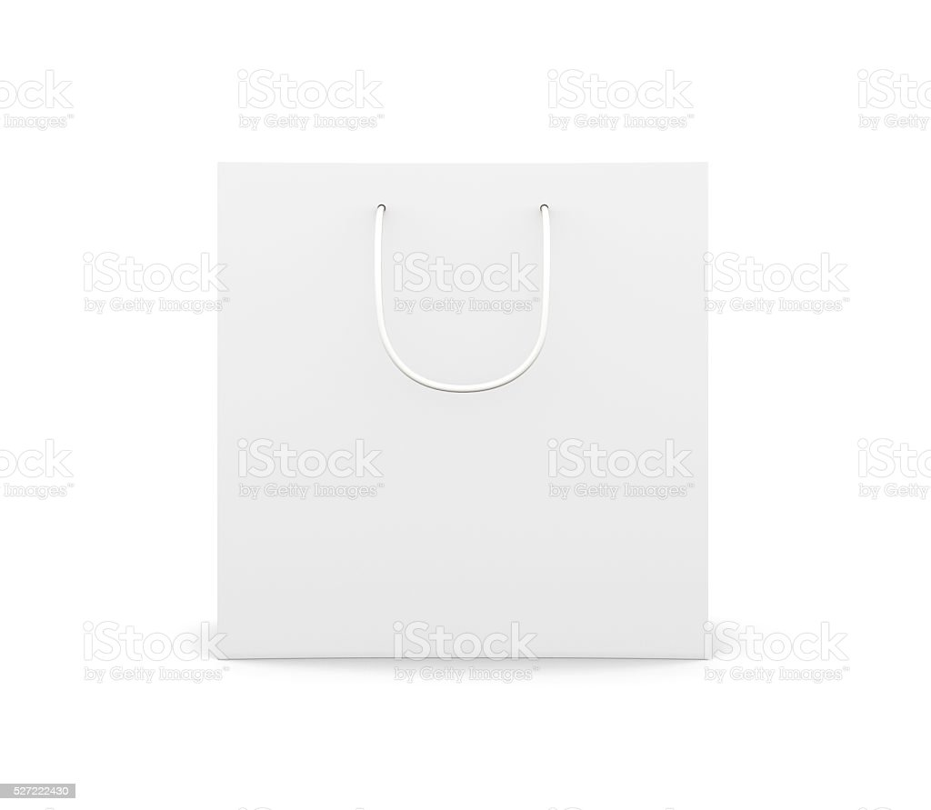Front view paper bag with handles isolated on white background. stock photo