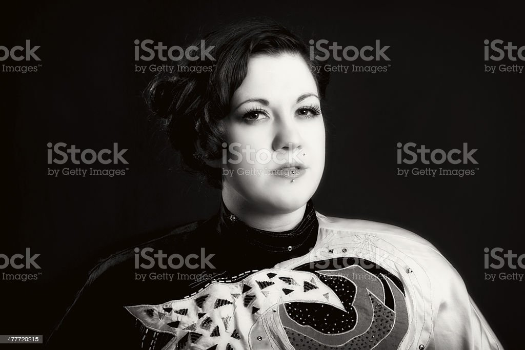 B&W front view portrait of mid adult woman. royalty-free stock photo