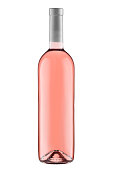 Front view  rose wine blank bottle isolated on white background.