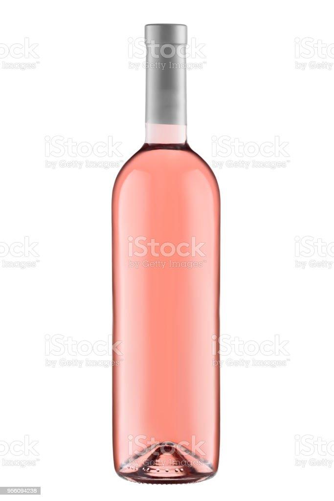 Vista frontal levantó la botella de vino blanco aislada sobre fondo blanco - foto de stock