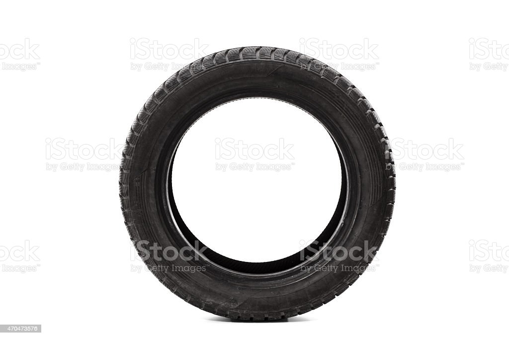 Front view studio shot of a single car tire stock photo