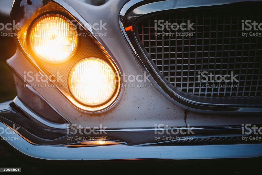 Front View Vintage Automobile Head Lights stock photo