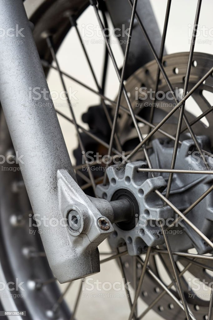 front wheel components of vintage European motorcycle stock photo