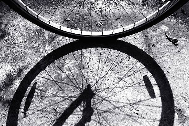 Front wheel of a bicycle stock photo