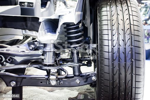 istock Front wheel of car with new tire and Shock Absorber 522800540